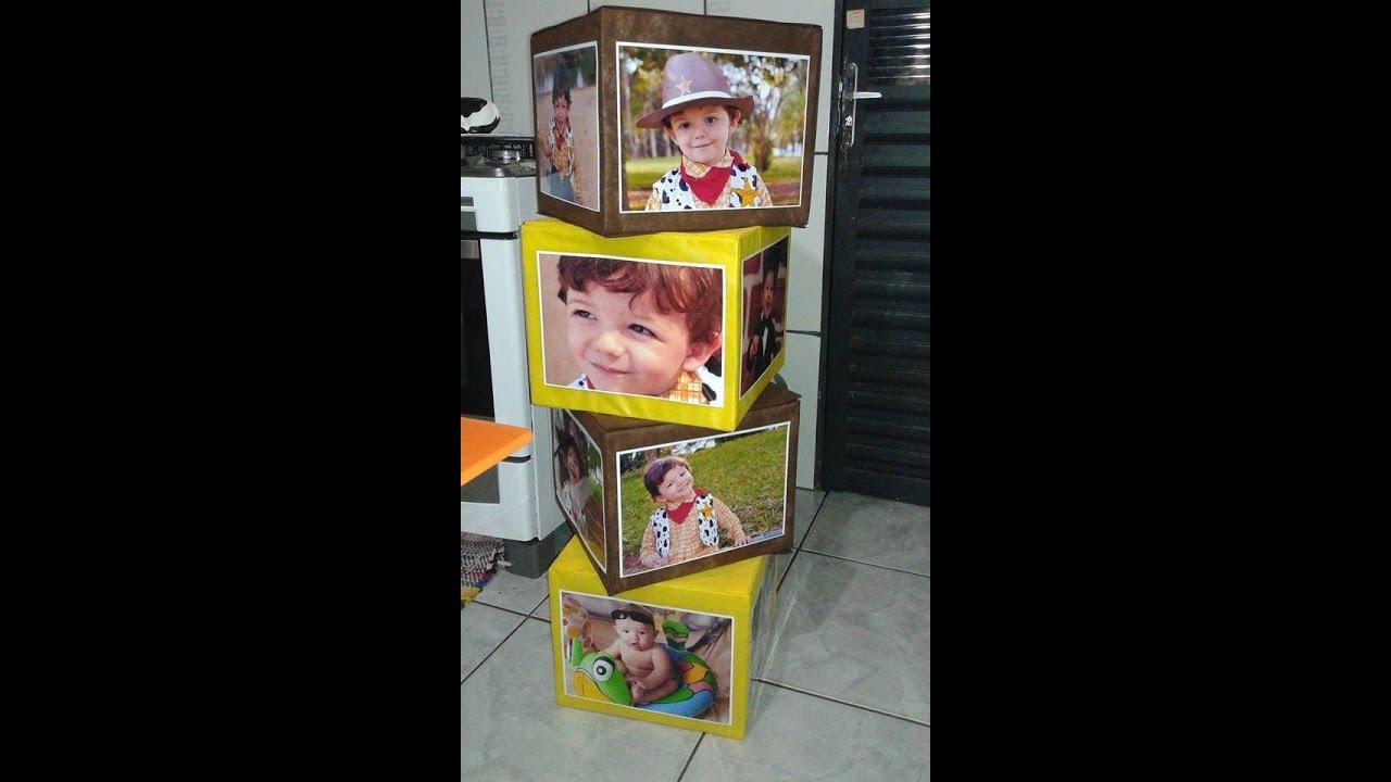 Como fazer cubos de fotos pra decorar a festa de - Como decorar fotos ...