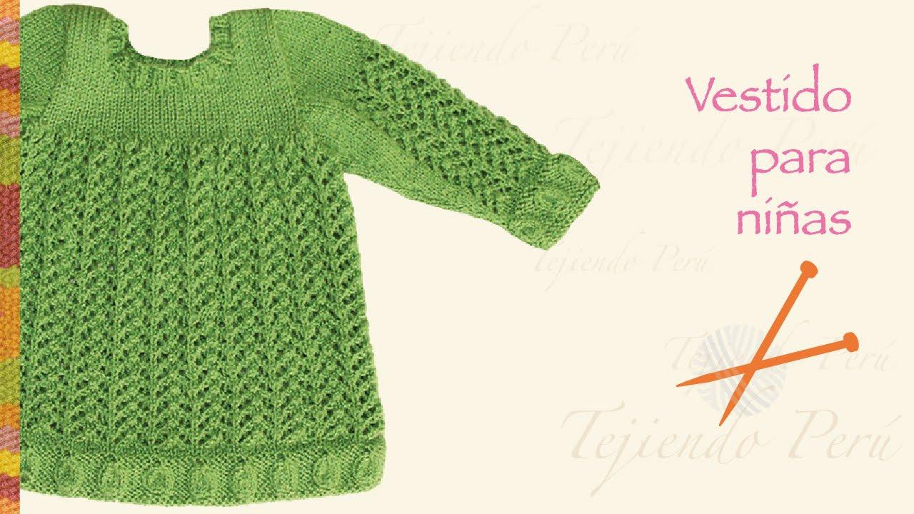 Vestido en varios puntos tejido en dos agujas o palitos - Puntos de dos colores a dos agujas ...