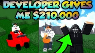 Yard Work Simulator Developer Gives Me $210,000! (Roblox)