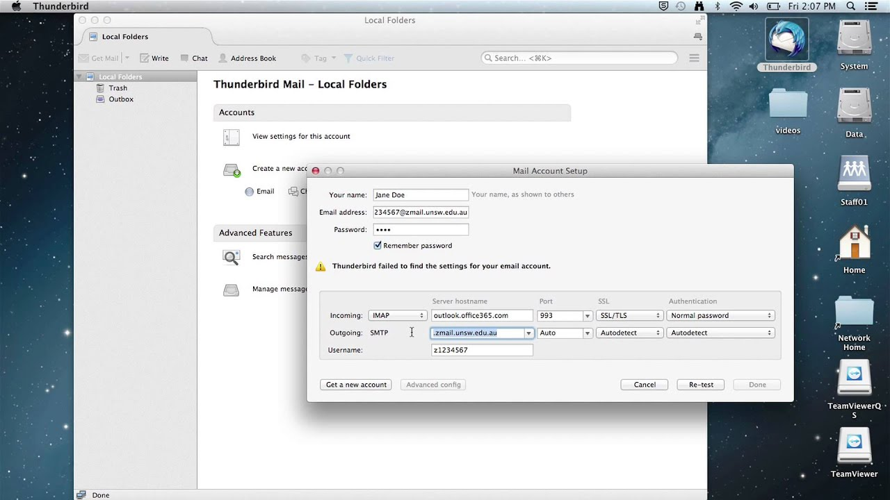 zMail - Add Office 365 account - Thunderbird