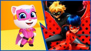 Talking Tom Hero Dash Angela vs Lady Bug and Super Cat