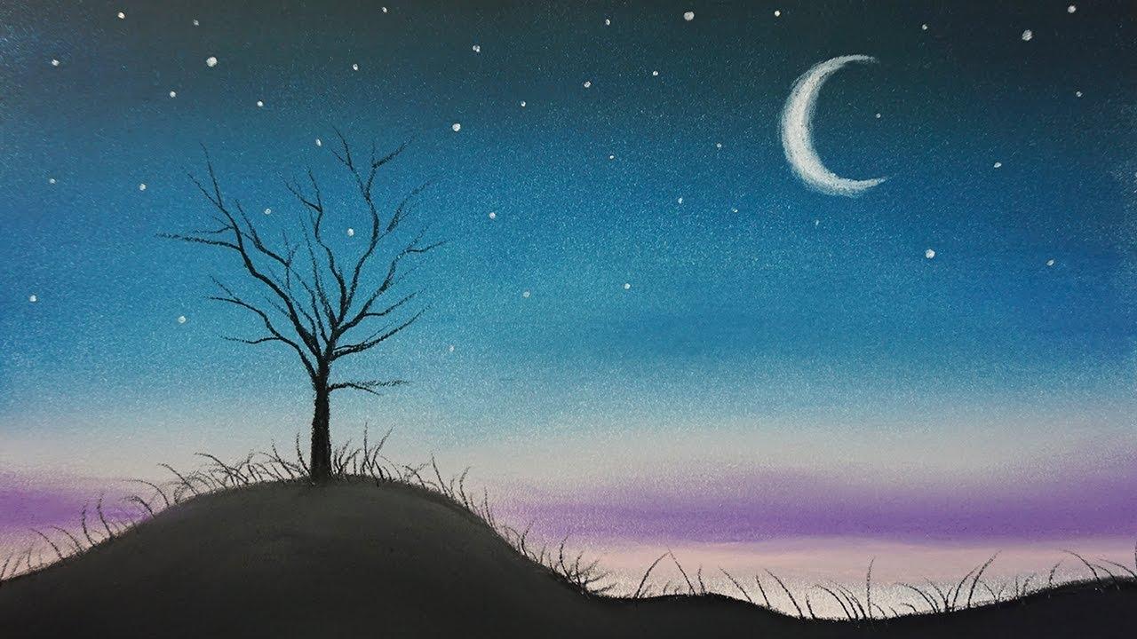 Cómo Dibujar Un Paisaje De Noche Sencillo Al Pastel Paso A Paso