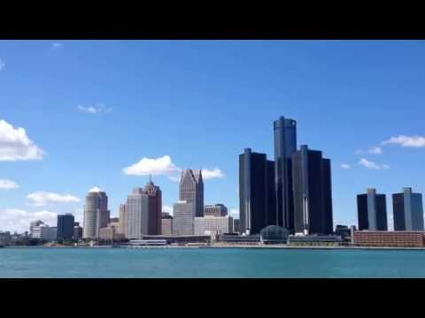 DETROIT - Detroit River and city skyline, seen from Windsor in Canada