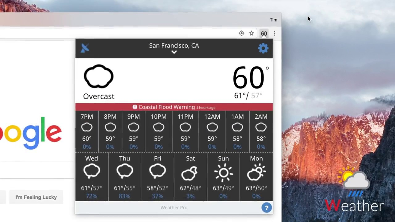 Weather Extension - Quickly check the forecast in Chrome