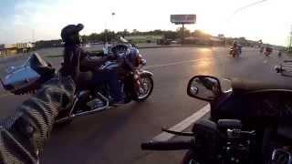 Harley bikers overtake our Goldwings