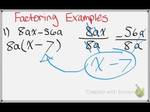 Algebra 1 8-5 Using the Distributive Property. to Factor Polynomials