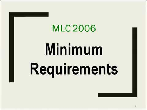 Module 2  MLC 2006 Minimum requirements
