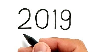VERY EASY, how to turn numbers years 2019 into CARTOON for kids