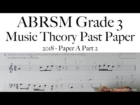 ABRSM Music Theory Grade 3 Past Paper 2018 A Part 2 With Sharon Bill