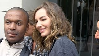 EXCLUSIVE : Louise Bourgoin and Stephane De Groodt coming out of RTL radio station in Paris