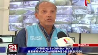 Jóvenes 'skaters' se enfrentaron a serenos en San Borja