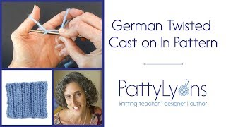German Twisted Cast On in Pattern (knits and purls)