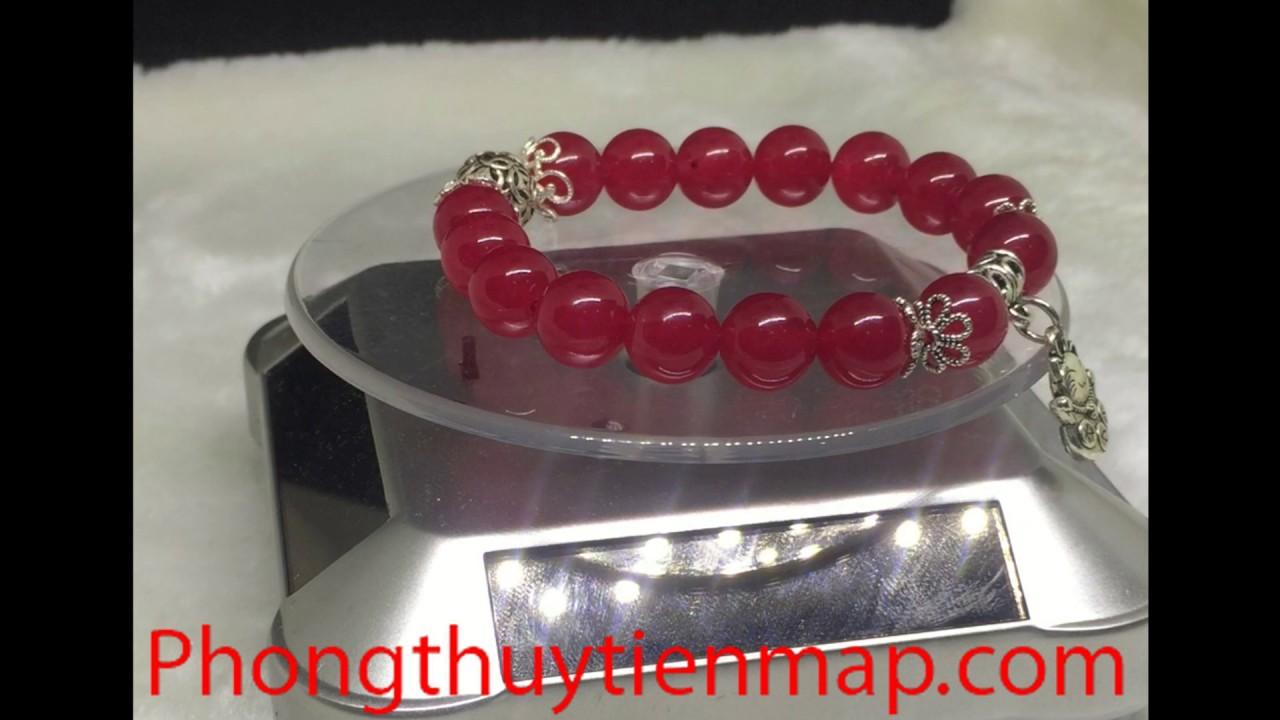 Vòng tay phong thủy đá mã não đỏ charm bạc