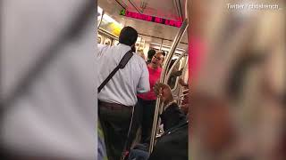 A Black Woman Rants at Orthodox Jewish Man on a NYC Subway