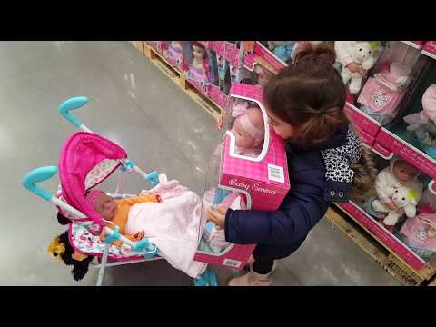 Thumbnail: Little Girl Pushing Baby Doll Pushchair / Playing in the Store | Emily Tube