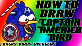 How To Draw Captain America Bird from Angry Birds Avengers ✎ YouCanDrawIt ツ 1080p HD