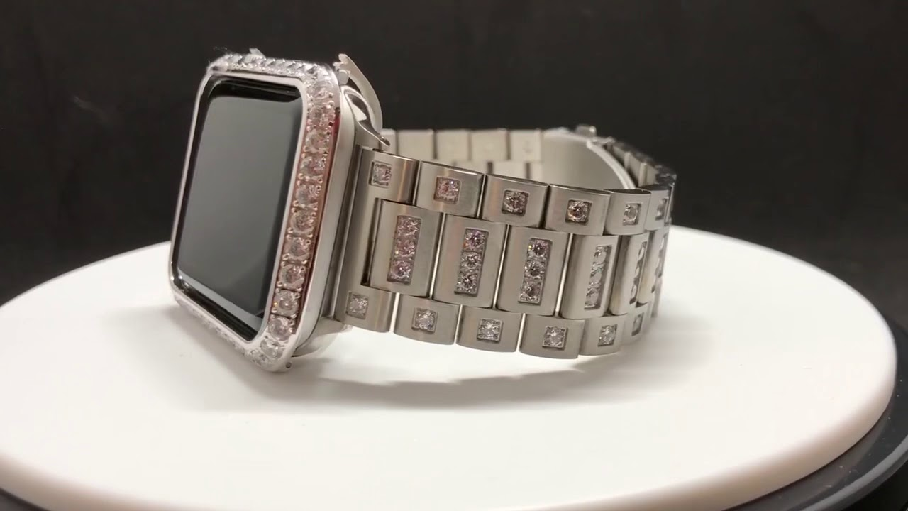separation shoes 9c4a1 e3602 Apple Watch Band Series 4 Chanel Set Rhinestones 40mm 44mm & Case Cover  Bezel Lab Diamonds Bling