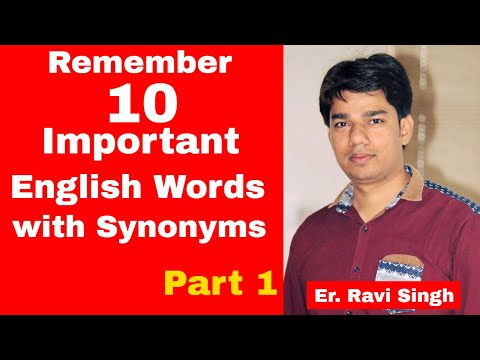 Trick to Remember 10 Important English words with synonyms - Part 1