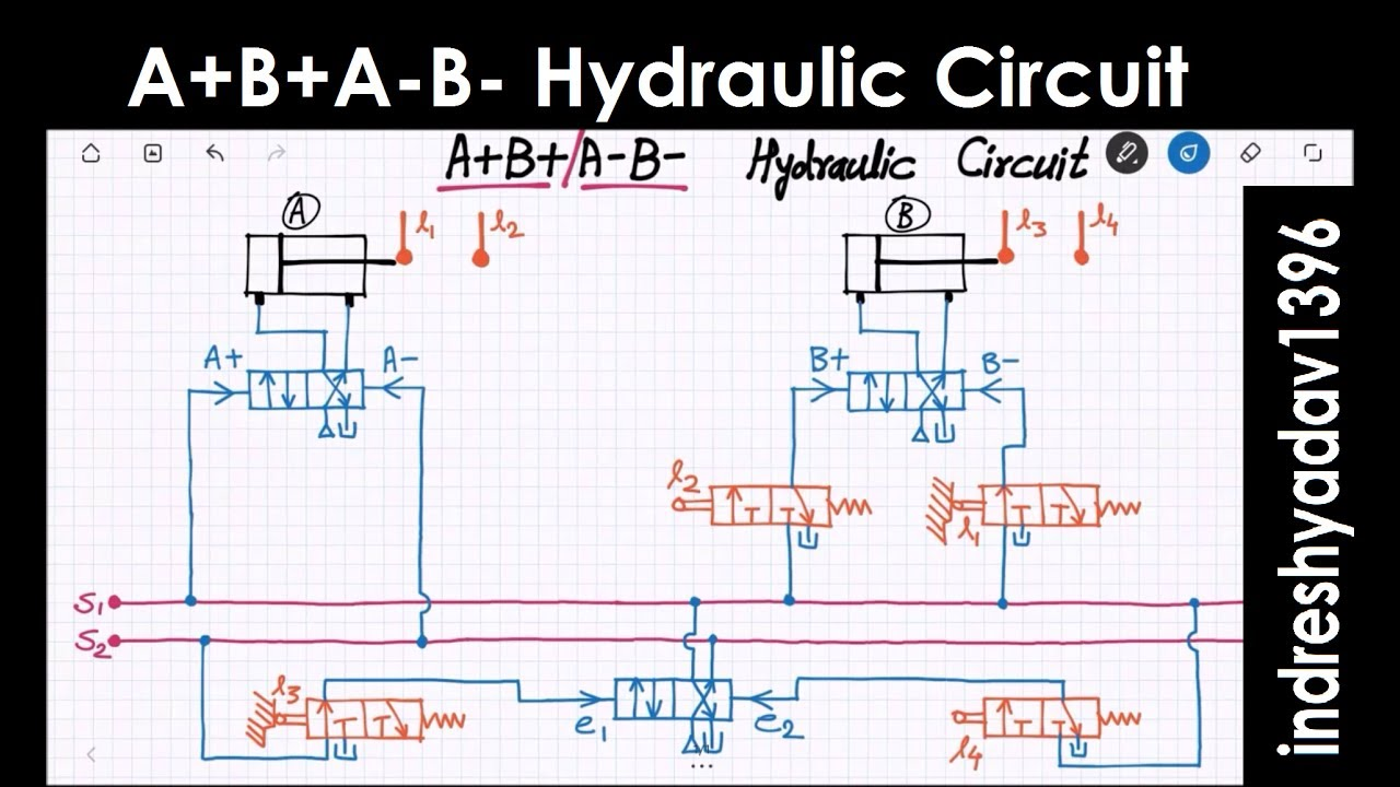 A B A-b- Hydraulic  Pneumatic Circuit - Series Part-2