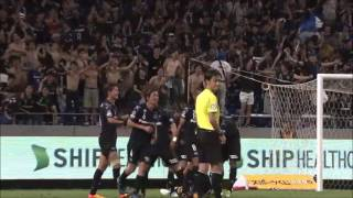三浦 弦太(G大阪)が左サイドからのCKをニアで合わせて逆転ゴールを奪...