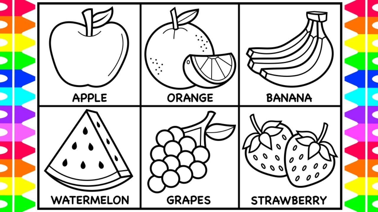 How to Draw Fruit for Kids 🍏🍊🍌🍉🍇🍓Fruit Drawings for Kids ... | fruits coloring pages for preschoolers