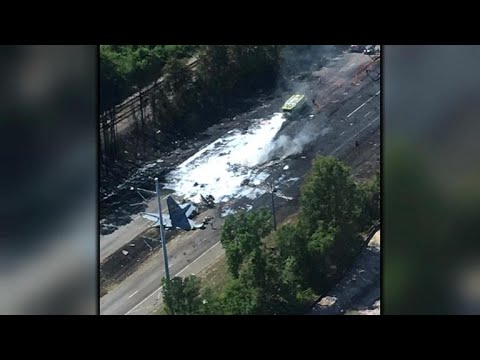 Military plane crashes in Georgia, explodes into flames on highway