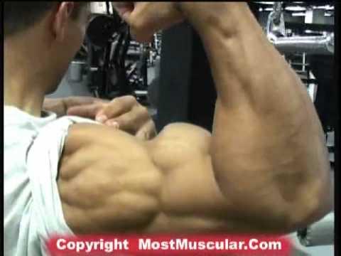 Bodybuilder Rob Garcia trains tris, poses biceps