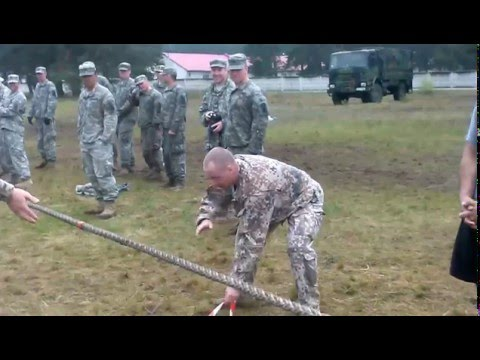 USA soldiers against the Latvian soldiers- Tug of war