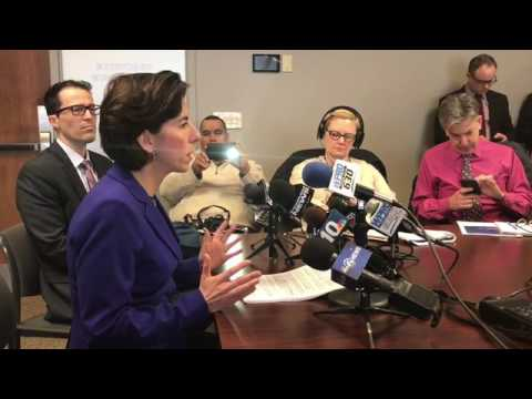 Rhode island Governor Gina M. Raimondo speaks with the media about ongoing problems with the UHIP ro