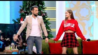 Iuliana Beregoi îl învață pe Dani Oțil dansul din videoclipul piesei Moș Crăciun cu dreaduri albe