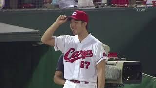 広島カープ、1回裏2-2、2アウトランナー1,2塁で岩本選手 2017年9月13日