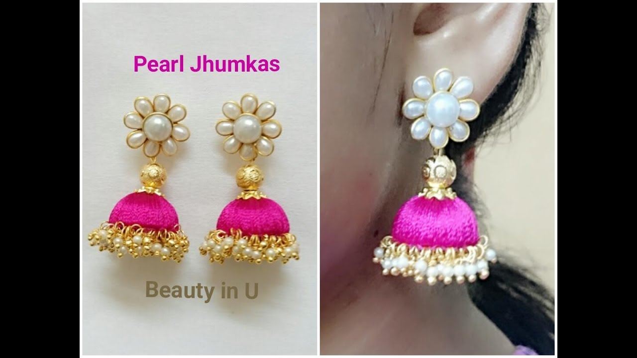 Easy and Simple Pearl Silk Thread Earrings | Tutorial | Model for ...