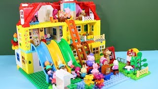 Peppa Pig Legos House Construction Sets - Lego Duplo House With Water Slide Toys For Kids
