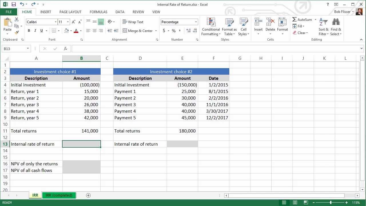 spreadsheets for finance  calculating internal rate of