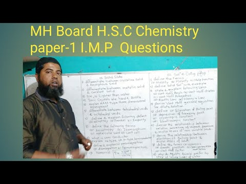 MH BOARD H.S.C CHEMISTRY I.M.P QUESTION CHAPTERWISE CHEM I.M.P QUESTION  I.M.P QUESTION CHEM 2020