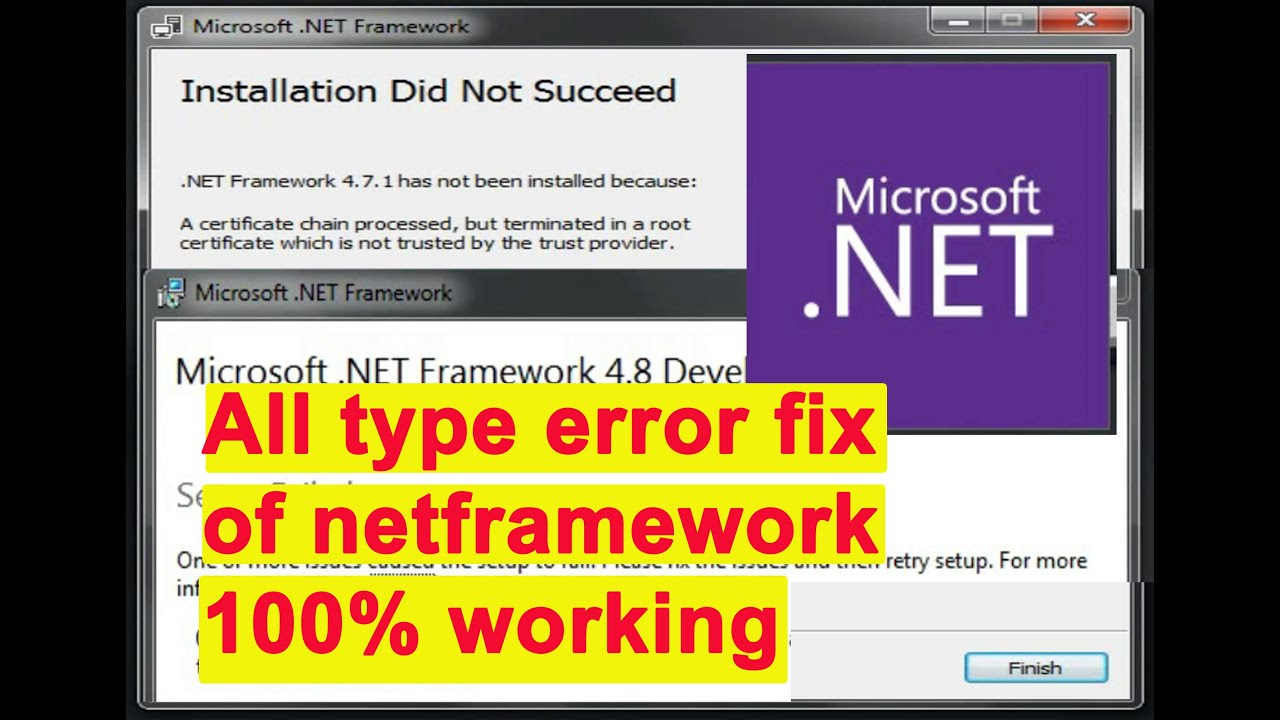 Microsoft net framework installation failed, installation of net ...