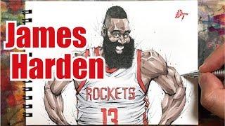 Drawing technique, James Harden - Houston Rockets -