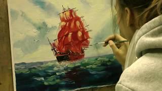 """Картина маслом поэтапно """"Морской пейзаж"""""""