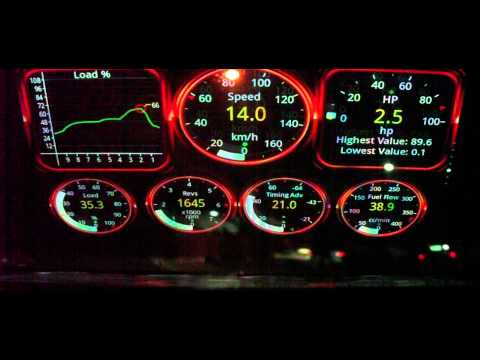 HUD Heads-Up-Display showing realtime BHP Horsepower readings