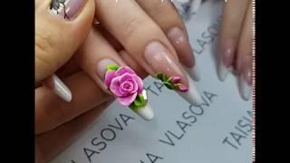 Дизайн ногтей спустя 2 месяца - Акриловая лепка и выкладной френч