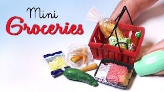 Miniature Groceries & Shopping Basket Tutorial // Dolls/Dollhouse