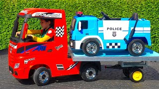 Artem ride on Toy Tow Truck for children and towing Police car