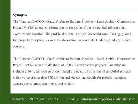 Aramco/BAPCO - Saudi Arabia to Bahrain Pipeline - Saudi Arabia - Construction Project Profile