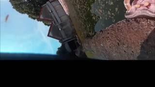 飼育係員にカバのサツキが口を開けて挨拶しているところを360°カメラ...