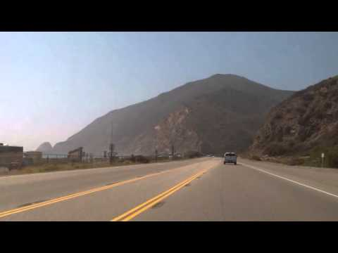 Driving on California coast near LA, Malibu, Point Mugu