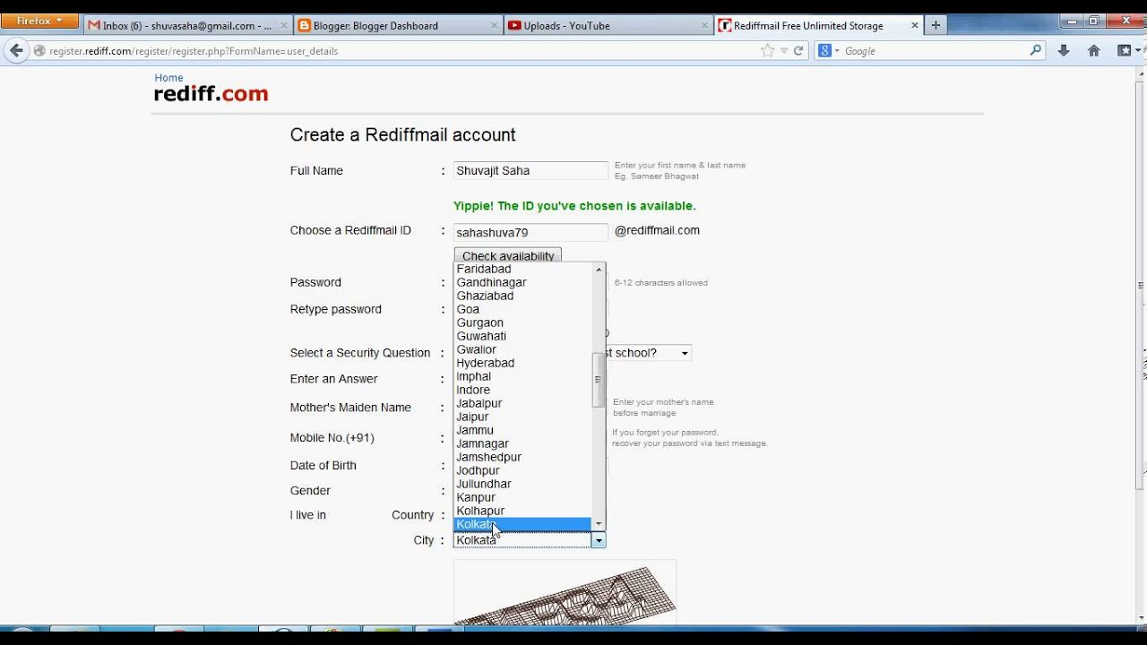 Rediffmail - How To Create Rediffmail Act