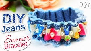 GIRLY Jeans DIY Bracelet Tutorial | Summer CUTE Bracelet
