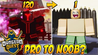 PRO TO NOOB PART 1 *FUNNY MOMENTS* DUNGEON QUEST ROBLOX