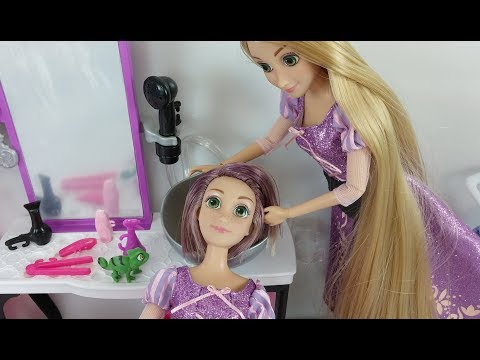 Thumbnail: Disney Princess Rapunzel Hair DIY Haircut at BARBIE STYLE SALON Toy doll Beauty Salon