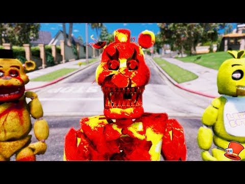 NEW LAVA NIGHTMARE FREDDY ANIMATRONIC! (GTA 5 Mods For Kids FNAF RedHatter)